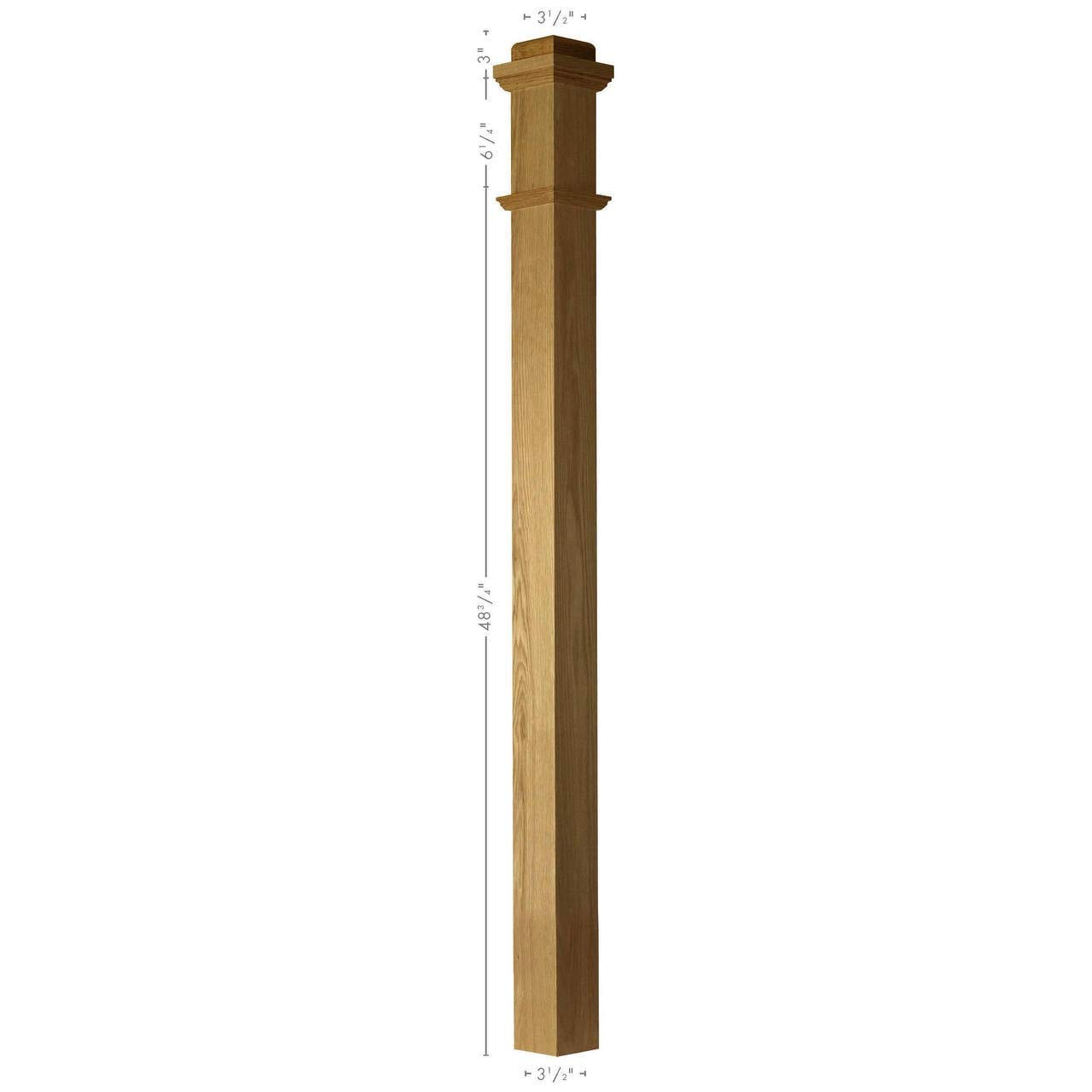 SP-4075S Solid Poplar Plain Box Newel Post by Amish Made