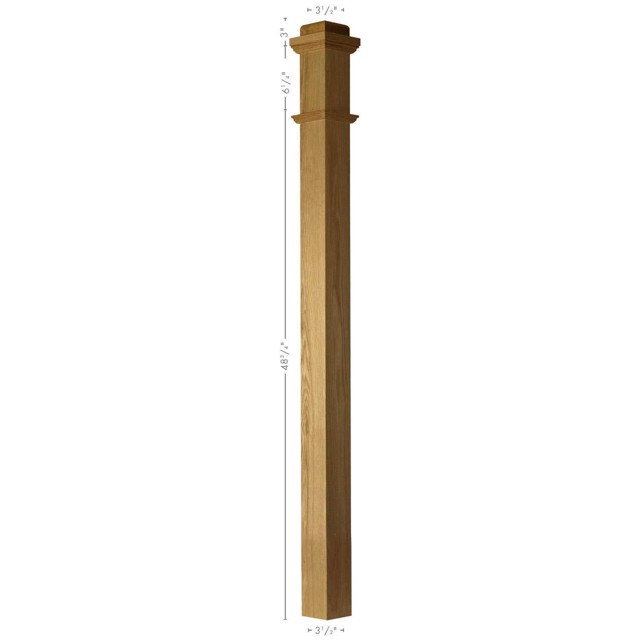 SP-4075S Solid Red Oak Plain Box Newel Post
