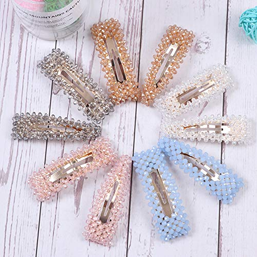 - 10 PCS Rhinestone Hair Clips for Women and Ladies Shining Crystal Snap Clips Different Color Rhinestone Hair Pins Hair Barrettes for Party Wedding Daily Hair Decorative