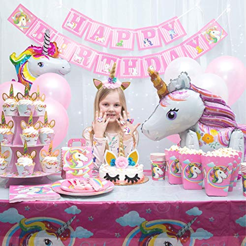 Girl Birthday Supplies (Unicorn Party Supplies - 197 pc Set With Unicorn Themed Party Favors! Pink Unicorn Headband for Girls, Birthday Party Decorations, Unicorn Balloons, Pin the Horn on the Unicorn Game and)