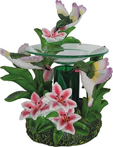 New Colorful Hummingbirds on Stargazer Lily Flowers Fragrance Oil Burner Tart Warmer with Dimmer ()