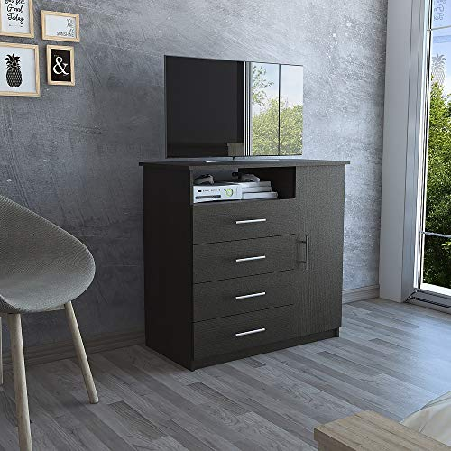 TUHOME Peru Collection Dresser W/ 4 Spacious Drawers,1 Cabinet and 1 Storage Shelf, Works as TV Stand for TVs up to 47in, Modern Espresso Finish