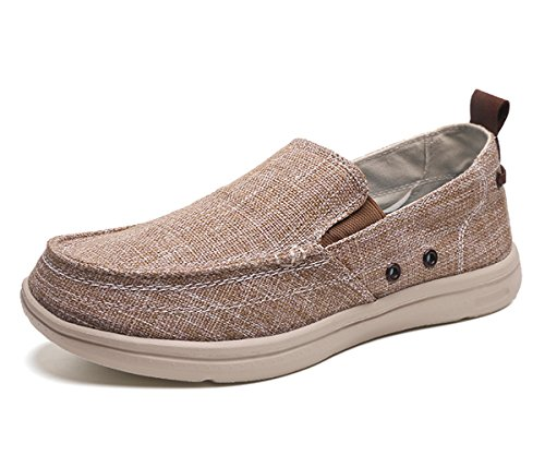 BEFAiR Lightweight Slip On Canvas Shoes Vintage Comfort Casual Loafers Breathable Boat Shoes for Men (9 D(M) US, -