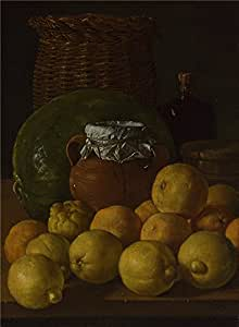 Oil Painting 'Luis Melendez Still Life With Lemons And Oranges ' Printing On Perfect Effect Canvas , 10 X 14 Inch / 25 X 35 Cm ,the Best Living Room Gallery Art And Home Gallery Art And Gifts Is This Replica Art DecorativeCanvas Prints
