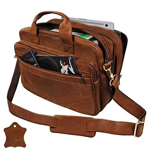 STILORD Bolsos bandolera hombres maletín College Bag Bolso de piel Bolso mensajero portátil de cuero auténtico de búfalo