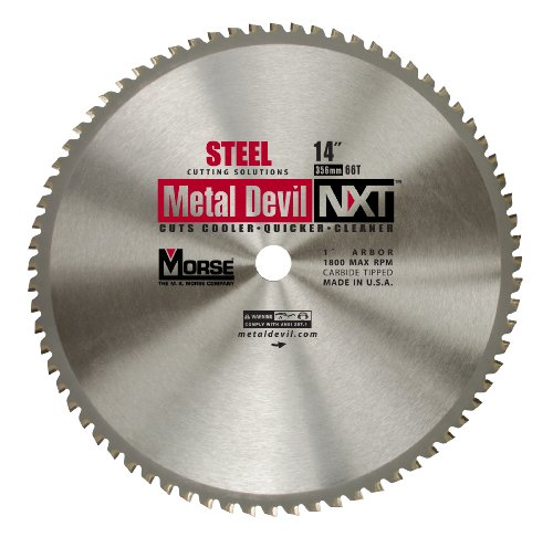MK Morse CSM1466NSC Metal Devil NXT Circular Saw Blade 14-Inch Diameter, 66 Teeth, 1-Inch Arbor, for Steel (Metal Devil Saw Blade)