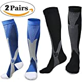 Sintiz Compression Socks for Men & Women (20-30mmHg),Knee High Stockings Graduated Support Athletic Running Pregnancy Health Travel Edema Diabetic Flight Nurses & Recovery Black + Blue S/M