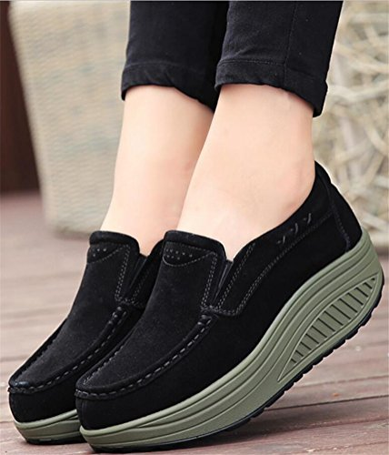 Loafer Shoes for Women Platform, Faux Fur Lined Ankle Boots Winter Sneakers 4 Colors Size 5-8 Black