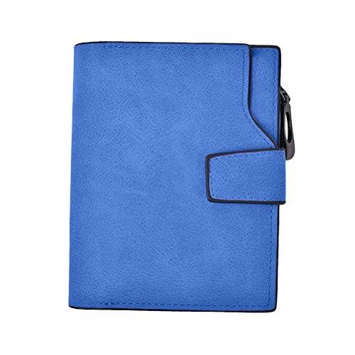 G-zebra Women's Wallet Small Bi-fold Zipper Pocket with ID Window Organizer Credit Card Case Ladies Purse Blue ()
