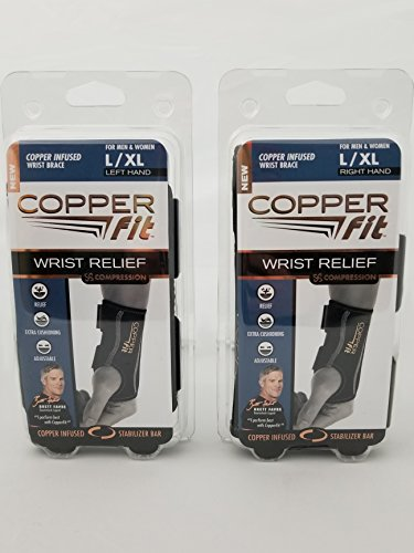 Copper Fit Compression Wrist Sleeve Large XLarge SET Left and Right Wrist Sleeve by Copper Fit