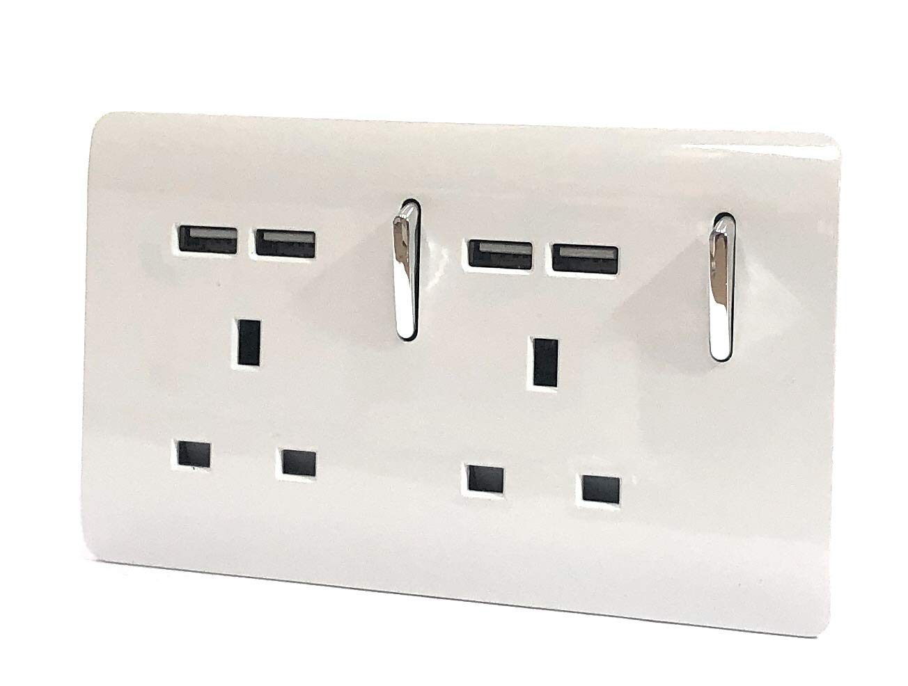 Trendi 2 Gang Artistic Modern Glossy 13 Amp 4 x 2.1mA USB Switched Tactile Plug Socket White