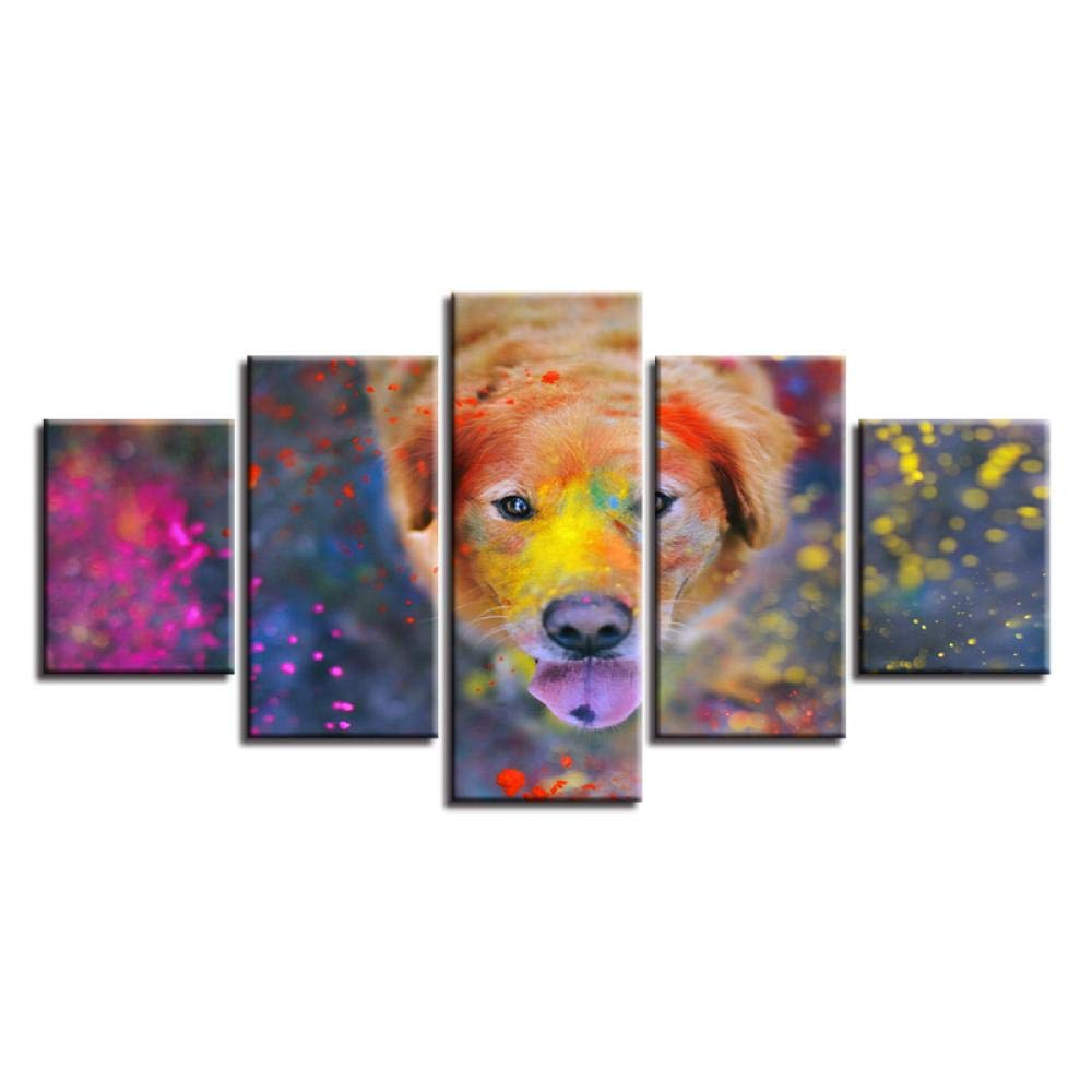 Canvas Paintings Home Decor- HD Prints 5 Pieces Beautiful World of Colors Dog Pictures- Endearing Animal Poster(No Frame 40x60 40x80 40x100 cm) by Ywsen