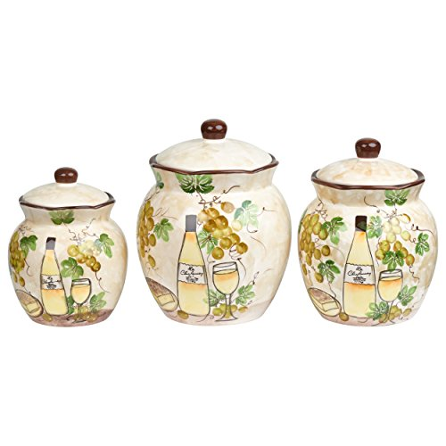 Lorren Home Trends W2069 Canister Set Grape Ceramic 3 Piece Deluxe, White Grape Canister Sets