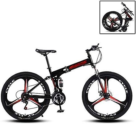 Bicicleta De Montaña Plegable Adulto MTB,27 Velocidades Bicicleta Doble Disco Frenos Doble AbsorcióN De Impactos Montar Al Aire Libre (Color : Black, Size : 24inch): Amazon.es: Deportes y aire libre