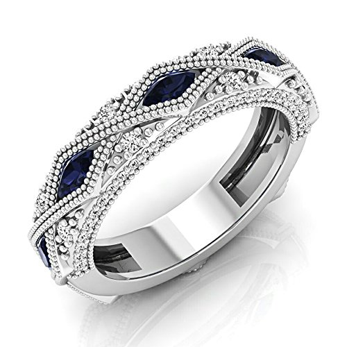 14K White Gold Marquise Blue Sapphire & Round White Diamond Stackable Wedding Band (Size 6.5)