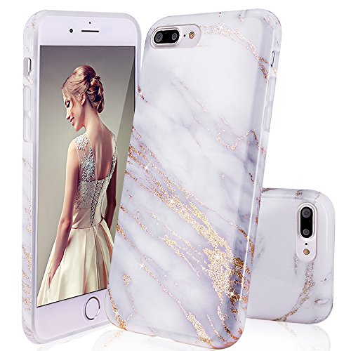 DOUJIAZ Compatible with iPhone 7 Plus Case,iPhone 8 Plus Case,Luxury Bling Sparkly Gold Metalli & Grey Marble Design Clear Bumper TPU Soft Case Rubber Silicone Skin Cover for iPhone 7 Plus/8 Plus