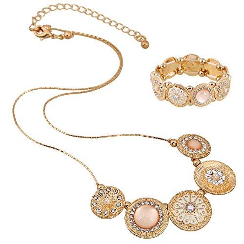 D EXCEED Womens Vintage Flower Bangle Bracelet Fashion Floral Stretch Bracelets for Ladies