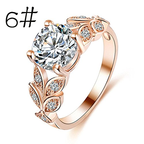 (Bookear Flower Crystal Wedding Ring for Women Jewelry Accessories Rose Gold Gold Engagement Ring (Rose Gold, 6))