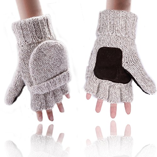 HDE Fingerless Winter Gloves Flipover Insulated Thermal Knit Texting Mittens
