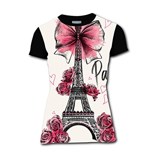 Price comparison product image ASD JKL Paris, Eiffel Tower Vogue Printing Women's T-Shirt Tee Shirt Black
