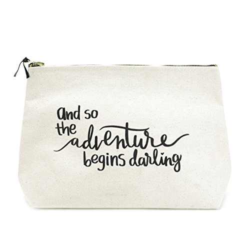 Canvas Makeup Bag with Quote and Brass Zip Extra Large Natural  And the Adventure Begins Darling