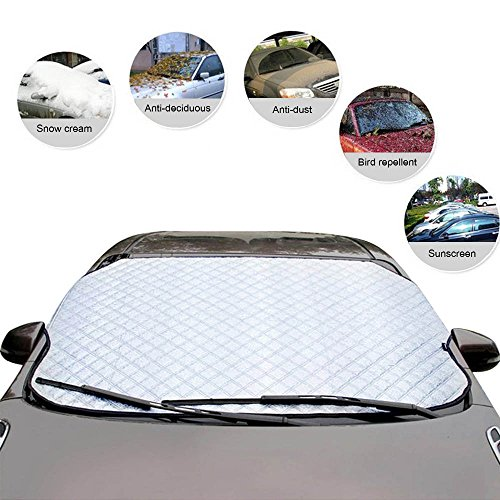 Car Windshield Snow Cover, FOME Aluminum Film &Cotton Fabric Universal Windshield Ice Cover Wiper Cover Snow Sun Shade Protector Waterproof Frost Guard Protector Fit Car/SUV/ Truck 73.6X37.4in