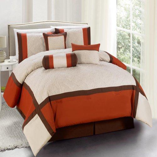 Chic Home Odessa 7-Piece Comforter Set, King, Brick