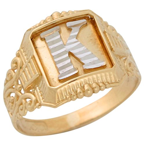 10k Two-Tone Gold Antique and Filigree Design Mens Fancy Initial Letter K (Filigree Design Ring Ring)