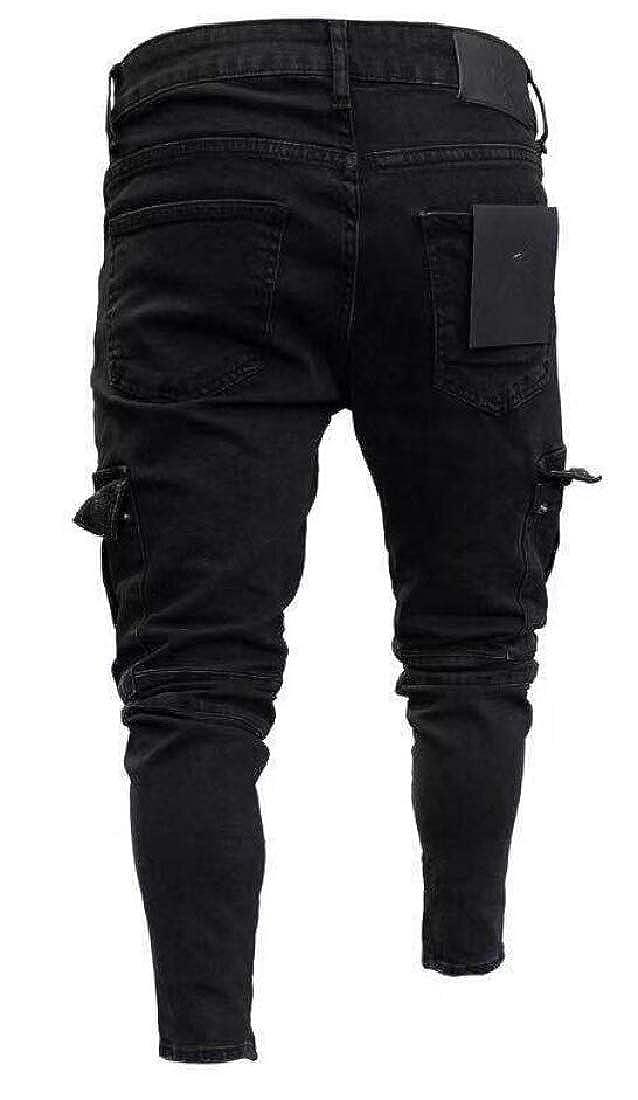 WSPLYSPJY Mens Holes Solid Skinny Denim Jeans Pencil Pants with Pocket