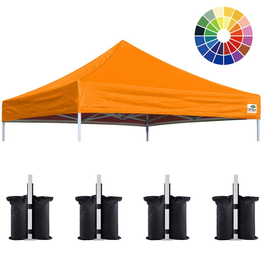 Eurmax New 10×10 Pop Up Canopy Replacement Canopy Tent Top Cover, Instant Ez Canopy Top Cover ONLY, Choose 30 Colors Orange
