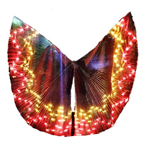 LED Isis Wings Glow Light Up Belly Dance Costumes with Sticks Performance Clothing Carnival Halloween Flame]()