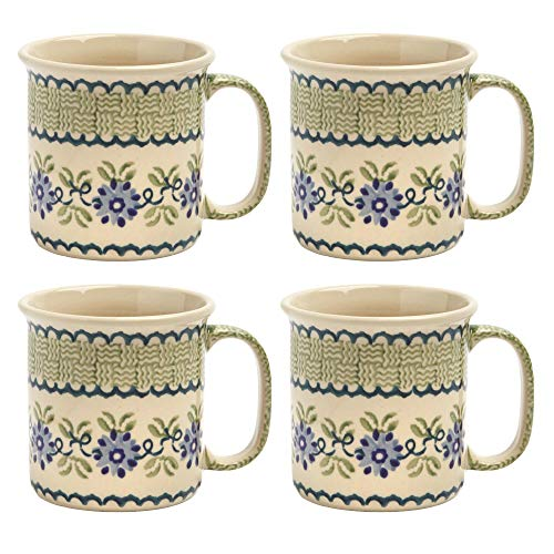 Polish Pottery Blue Floral Basketweave Handmade Ceramic Can-Shaped Mugs, Set of 4