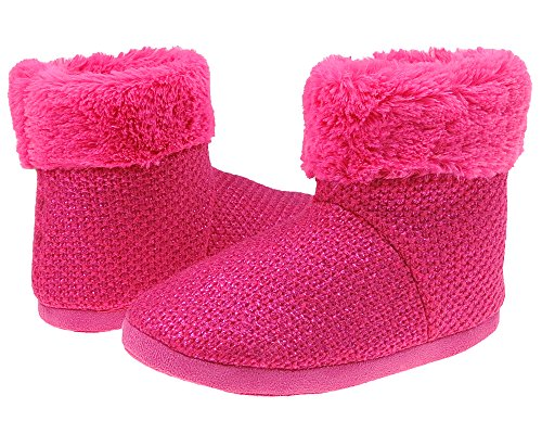 Metallic Trim Boot - Capelli New York Girls Metallic Knit Indoor Slipper Boot with Faux Fur Trim Pink 1/2