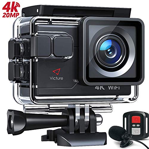Victure AC700 4K 20MP Action Camera, 40M Waterproof Underwater Camera with EIS Tech, External Microphone and Remote Control with 2 Batteries and Mounting Accessories Kit