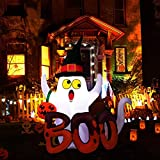YUNLIGHTS 5 Foot Halloween Inflatable Ghost, Blow Up Ghost with Internal LED Lights for Indoor Outdoor Yard Lawn Art Halloween Decoration: more info