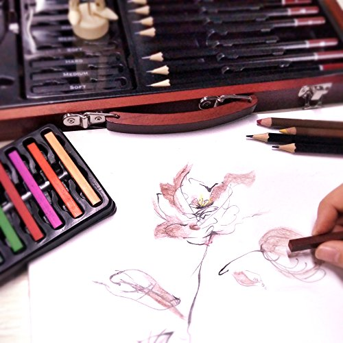 Professional Art Kit Drawing and Sketching Set 58-Piece Colored Pencils, Art Kit for Kids, Teens and Adults/Gift by LUCKY CROWN Wooden Box Set by LUCKY CROWN (Image #4)