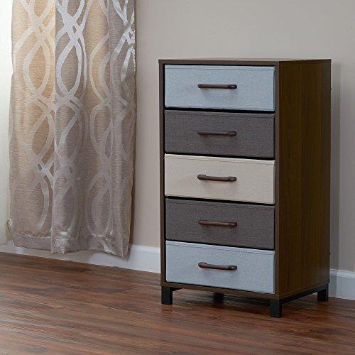 Household Essentials 8015-1 Wooden 5 Drawer Dresser | Storage Night Stand | Mahoganey