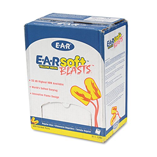 Plugs Corded Box - 3M E-A-R Earsoft Corded Earplugs, Neon Yellow, 200-Pair