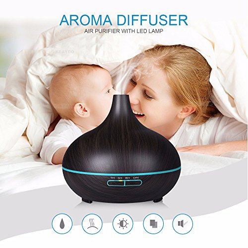BeautySu. Ultrasonic Cool Mist Humidifier Aroma Essential, Essential Oil Diffuser for Office Home Bedroom Living Room Study Yoga Spa, to Sleep, Natural Calm, Relaxation - Dark Wood Grain by BeautySu. (Image #1)