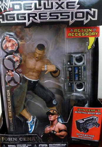 JOHN CENA - WWE Wrestling Deluxe Aggression Series 3 Figure with Ejecting Speaker Boom Box by Jakks