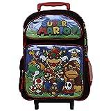 Super Mario Black & Red 16' Rolling backpack- Mario & Luigi