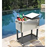 Best Selling Most Durable Popular Outdoor Pool Patio Deck Steel Rolling Beverage Ice Cart- Beautiful Solid Built Portable Organizer With Lower Shelf Organization Storage- Perfect For Your Next Party