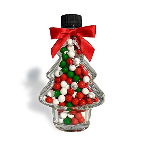 Candy Finish White (Christmas Holiday Chocolate Candy Gift Tree - Glass Jar Filled with Holiday Sixlets with Festive Red Bow - Perfect Gift Stocking Stuffer Decoration Secret Santa - Red Green White Chocolate Candies)