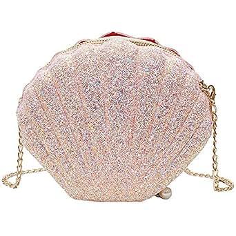 TOOGOO Women Girls Little Mermaid Seashell Purse Cross-Body Shoulder Bags Glitter Sequins Chain Evening Purse, Pink