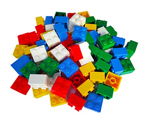 Hobby Monsters 100 Building Bricks 2 x 2 Assorted Colors (Compatible with all Major Brands) - Great STEM (Mega Brick)