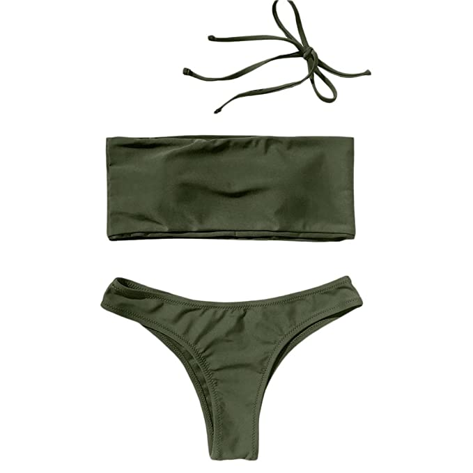 a632280cb2 ZAFUL Women's Solid Color Padded Bandeau High Cut Thong Bikini Sets (Orange  Red ...