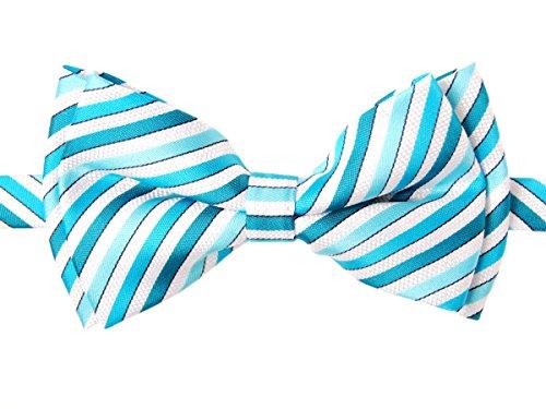 Retreez Retro Multi Tone Stripe Woven Microfiber Pre-tied Boy's Bow Tie - Turquoise - 4 - 7 - Retro 4 Cheap