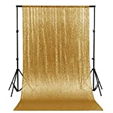 ShinyBeauty 10FTx10FT-Sequin Backdrop-Gold, Photography Background Sequin Fabric Photo Booth Backdrop Collapsible Video Studio Background Ideal for Curtain/wedding/Other Event Decor(120Inx120In)