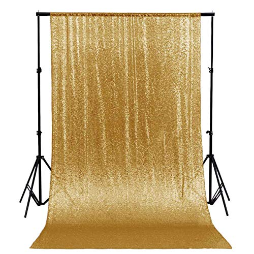 ShinyBeauty Sequin Backdrop 8FTx8FT-Gold,Sequin Curtain Backdrop Photo Booth Wedding Props Glitter Party Background Decorations (Gold)