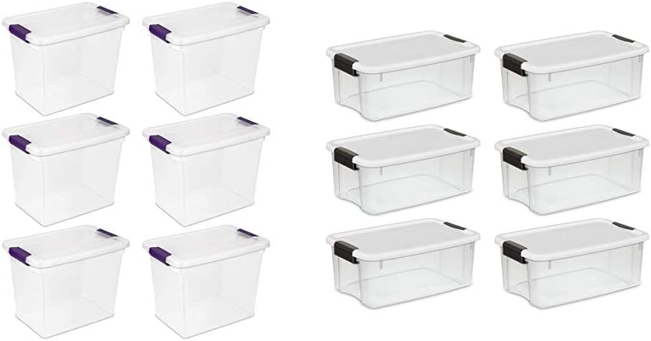 Sterilite 17631706 27 Quart/26 Liter ClearView Latch Box, Clear with Sweet Plum Latches, 6-Pack & 19849806 18 Quart/17 Liter Ultra Latch Box, Clear with a White Lid and Black Latches, 6-Pack